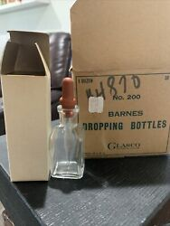 Vintage Glasco Clear Empty Glass Bottle With Eye Droppers 7 Complete 2 Bottles