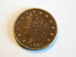 1884 Vf+ Liberty V Nickel Nice Higher Grade Better Date Coin For A Collection
