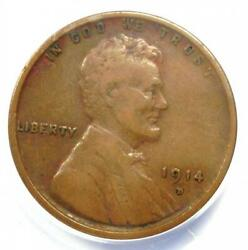 1914-d Lincoln Wheat Cent 1c - Certified Anacs Vf20 - Rare Key Date Penny