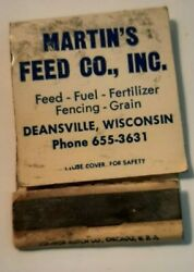 Martin's Feed Co Supersweet Feeds Deansville Wisconsin Vintage Matchbook