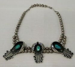 16 Native American Indian Navajo Silver Turquoise Pendant Papoose Bead Necklace