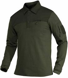 Magcomsen Menand039s Polo Shirts With 2 Zipper Pockets Loop Patches Cotton Tactical S
