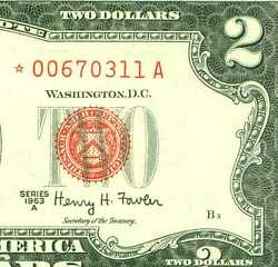 1963 A 2 Red Seal Star 11a World Paper Money Currency Banknotes