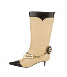 Camellia Quilted Faux Pearls Boots