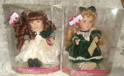 2 Vintage Gift Gallery Porcelain Animated Wind Up Musical Dolls Kathy And Megan