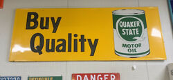 Vintage Quaker State Motor Oil Advertsing Sign Very Large- B334