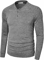 Mens Dry Fit Long Sleeve Henley Shirts Stretch Casual Athletic Collarless Button