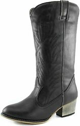 Dailyshoes Womenand039s Embroidered Legend Pointed Toe Pull Up Zipper Mid Calf Wester