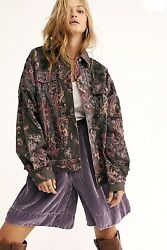 Free People Jacket Casino Royale Lined Gray Floral Embroidered Oversized M/l Nwt