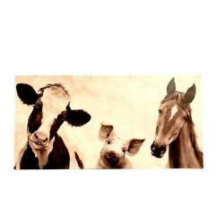 Farmhouse Black And White Canvas Print Of Cow Pig And Horse W/wood Frame Wall Decor