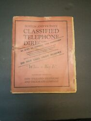 1931 Boston Classified Telephone Directory New England Telephone And Telegraph