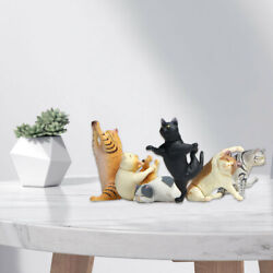 6x Cartoon Lovely Yoga Cat Figures Statues Figurines Collectibles Gifts