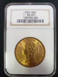 1900 Us Gold 20 Liberty Head Double Eagle Ms-63 Pcgs Fast Same Day Shipping