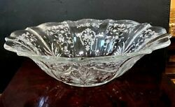 Fostoria Navarre Clear Etched Crystal Oval Flame Bowl Baroque 12 1/2 By 3 Deep