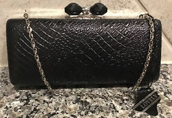 LOVELY CLUTCH BAGS BLACK SNAKE w Silver Chain Bling Knob NWT $19.99