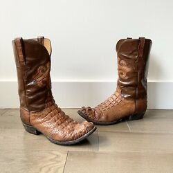 Vintage Lucchese Crocodile Hand Made Head Cut Brown Cowboy Boots Usa 11 D Exotic