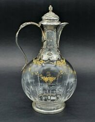 Antique 19th France Original Minerva Rare Decanter Crystal And Sterling Silver
