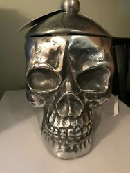 Goth Skull 3d Metal Cookie Jar Canister Bucket W/ Lid Party Haunted Decor Prop