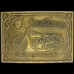Brass Indian Motorcycle Motocycle Scout Laughing Chief Biker 70s Vtg Belt Buckle