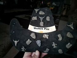 Rare Lot Of 19 Vintage Hat Western Pins Still In Original Container
