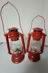 2 Red Oil Lamps Decorations Hanging Vintage Antique Glass Metal Lamp Outdoor