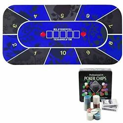 Felimoa Texas Hold'em Poker Play Mat Set Playing Cards Gratuity Game Blue