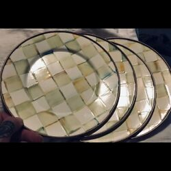 Set 2 Mackenzie Childs Parchment Check Salad Plates More Available Htf And Retired