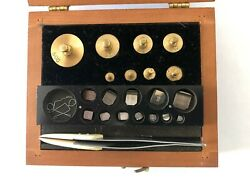 Vintage Pharmacist Apothecary Or Gold Scale Weights Set