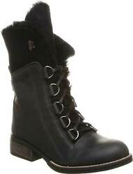 Luxe De Leon Aura Black Lace Up Womens Sheepskin Lined Boots Size 8 Or 9