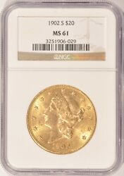 1902-s 20 Liberty Gold Double Eagle Ngc Ms-61 Pre-1933 Gold