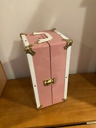 Vtg Pink Metal Doll Clothes Steamer Trunk Chest Closet Wardrobe Carry Case 12