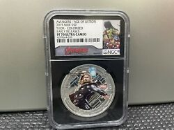 2015 Niue Silver Marvel Avengers Thor Ngc Pf70 Ultra Cameo Early Releases