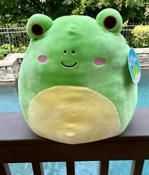 """Squishmallow 12"""" Wendy Green Frog Plush Red Eye Stuffed Toy New"""