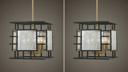 Two Holmes Aged Mercury Glass And Metal Pendant Chandelier 4 Light Uttermost 21543
