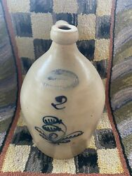 Antique Stoneware 2g Ny Jug W/ Cobalt Floral Burger And Lang Rochester Early