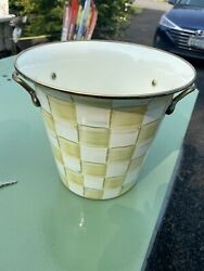 Mackenzie Childs Parchment Check Planter Wine Cooler Ice Bucket - New And Rare