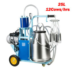 25l Electric Milker Milking Machine For Goat Cows W/bucket 12cows/hour Stainless