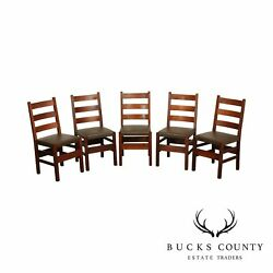 Gustav Stickley Antique Set 5 Oak Art And Crafts Dining Chairs