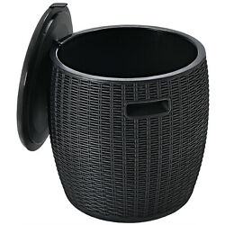 Patiojoy 4-in-1 Patio Rattan Cool 9.5 Gallon Bar Cocktail Table Side Table Black