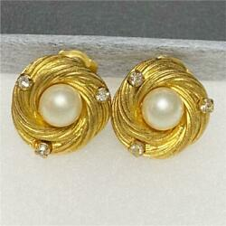 Authentic Vintage Earrings Imitation Pearl Rhinestone Clip On Coco C144