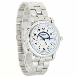 Star World Time Gmt Date Automatic White Blue 42mm 20cm Ss W/box Men