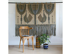 Vintage Tapestry By Eva Nemeth,scandinavian Style Wall Hanging With Blue Birds