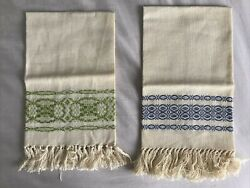 Two Small Vintage Hand-loomed Woven Linen Towels Williamsburg Virginia Tea