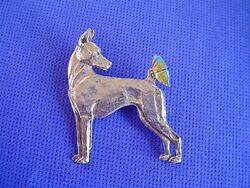 Minature Pinscher Butterfly Pin 34b Pewter Toy Dog Jewelry By Cindy A. Conter