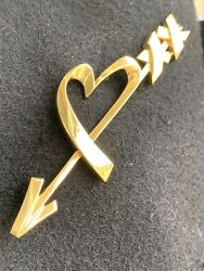 And Co 18k Paloma Picasso Heart Arrow Oversized Pin Brooch 3+ Inch 15 Gram