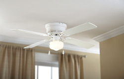 Mainstays 42 Hugger Metal Indoor Ceiling Fan With Single Light, White, 4 Blades