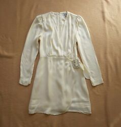 And Other Stories New Mini Dress Long Sleeve Cream Wrap Front V Neck 36 Uk 10 Us 4