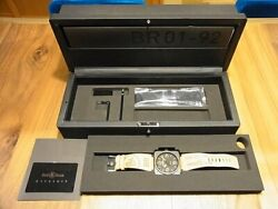Bell And Ross Men's Watch Br01-92 Heritage Automatic Black Calf Leather 46mm Boxed