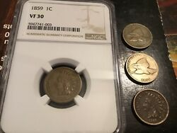 1859 Indian Head Cent Mixed Coin Lot. Super Nice Vintage Lot Look