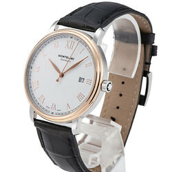 Tradition 114336 Date Automatic Transparent Back Ss Leather White Men